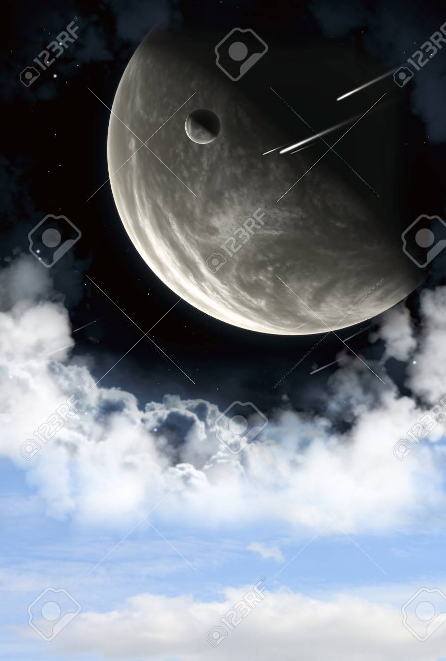 A beautiful space scene with planets and nebula Stock Photo - 9098691