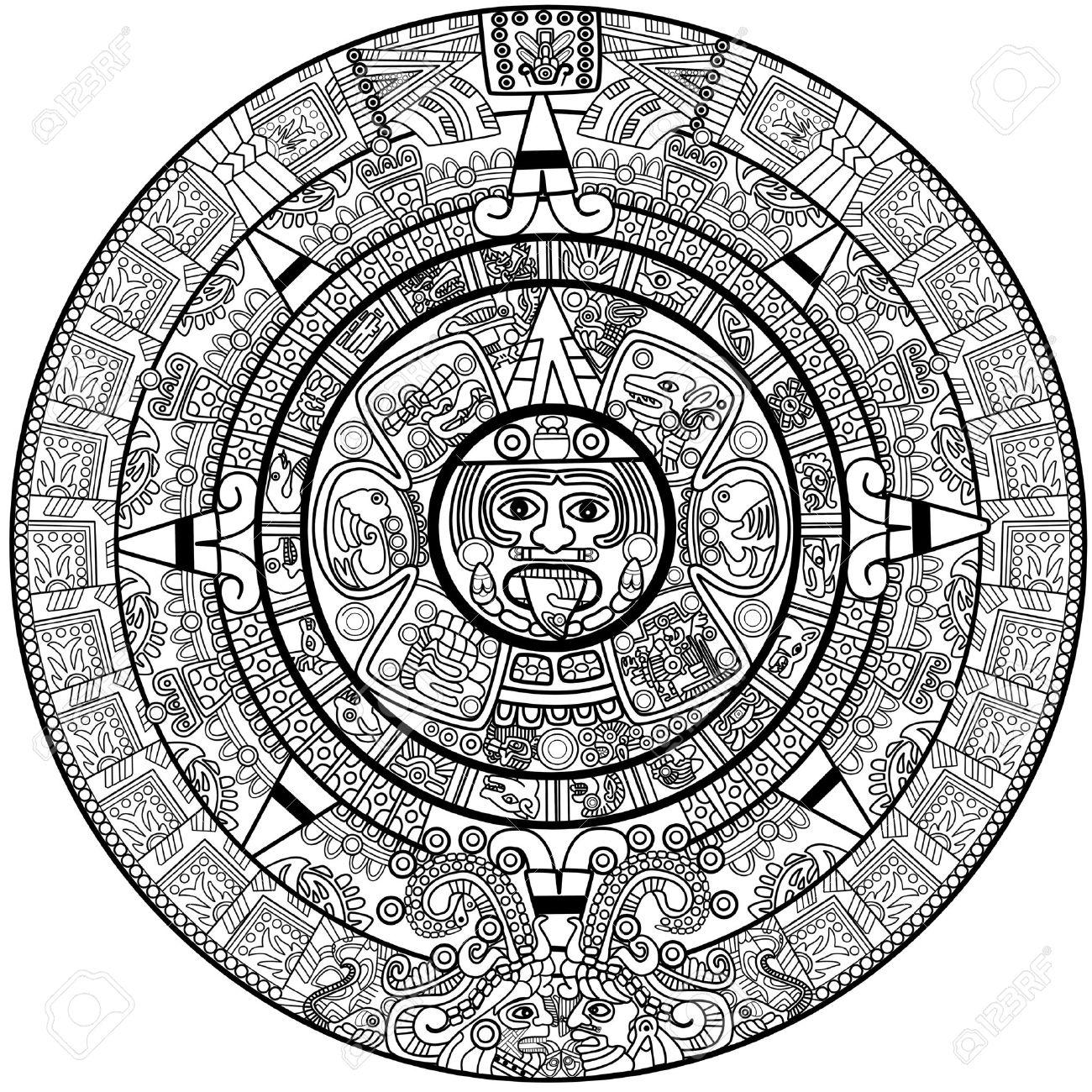 Vector Maya calendar - over white Stock Vector - 9156242