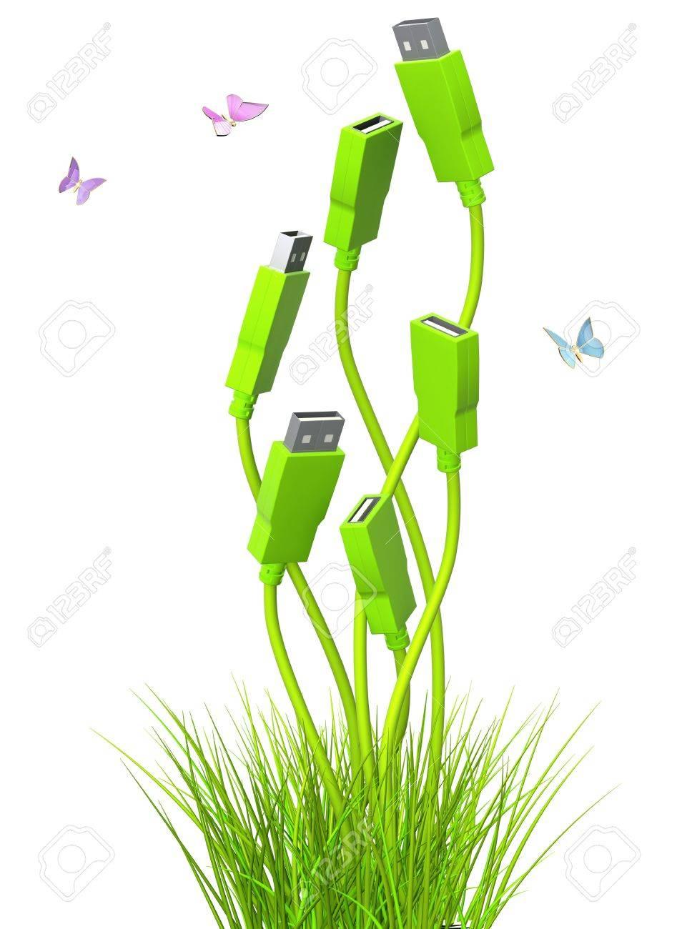 Conceptual image - green technology. 3d Stock Photo - 9312441