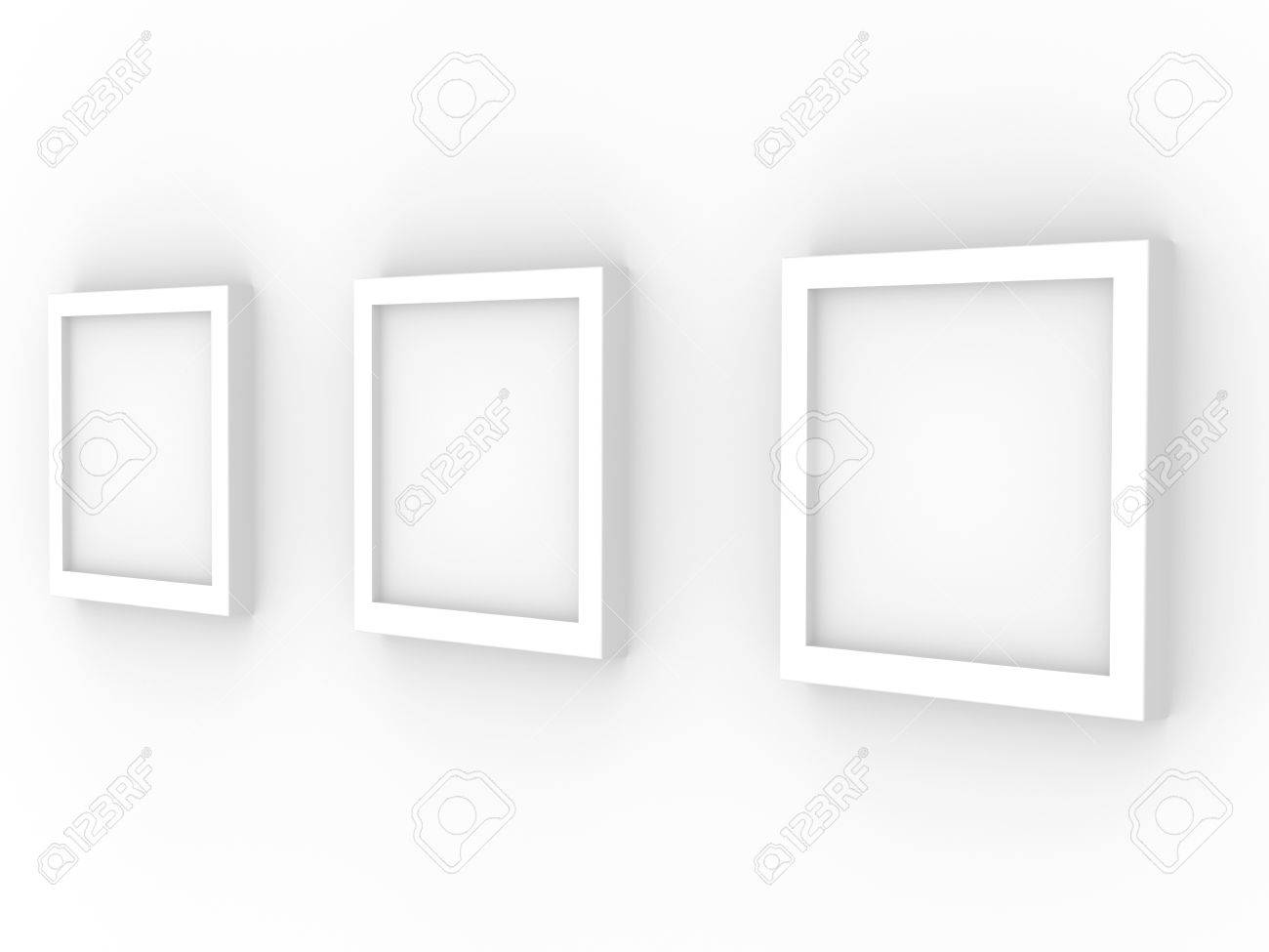 White Wall Frames 3d picture frames on a white wall stock photo, picture and royalty