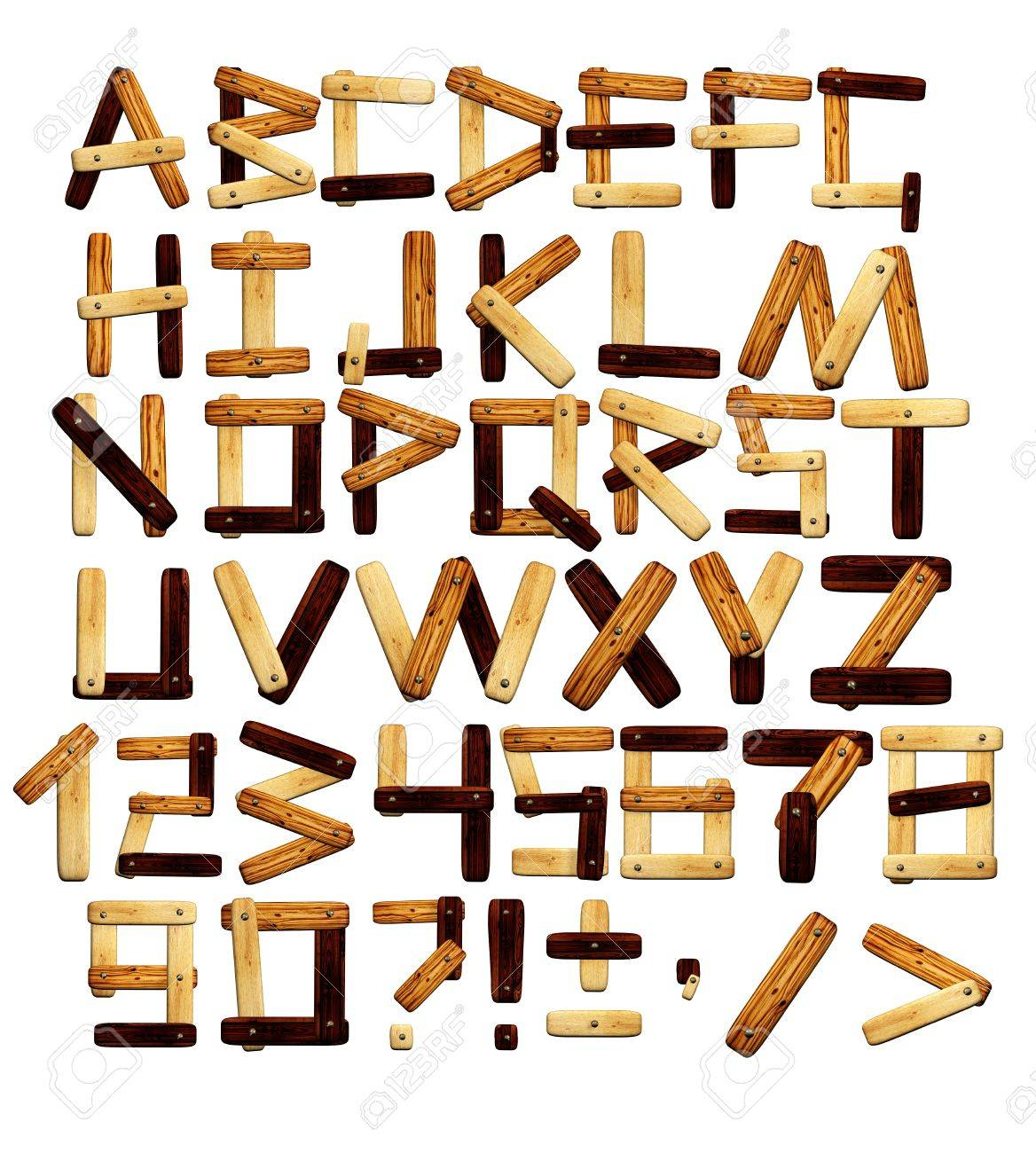 Alphabet - letters from wooden boards. Isolated over white Stock Photo - 9589256