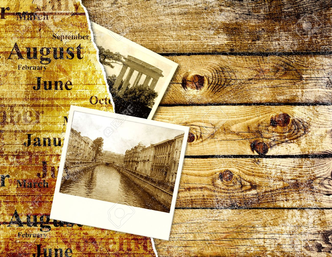 Grunge background with old photo and wood texture Stock Photo - 9589337