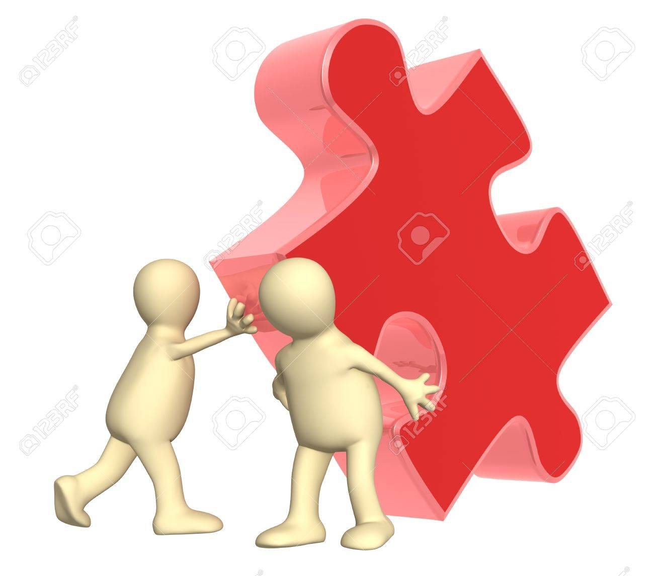 Success of teamwork. Two puppets with puzzle. Isolated over white Stock Photo - 9744198