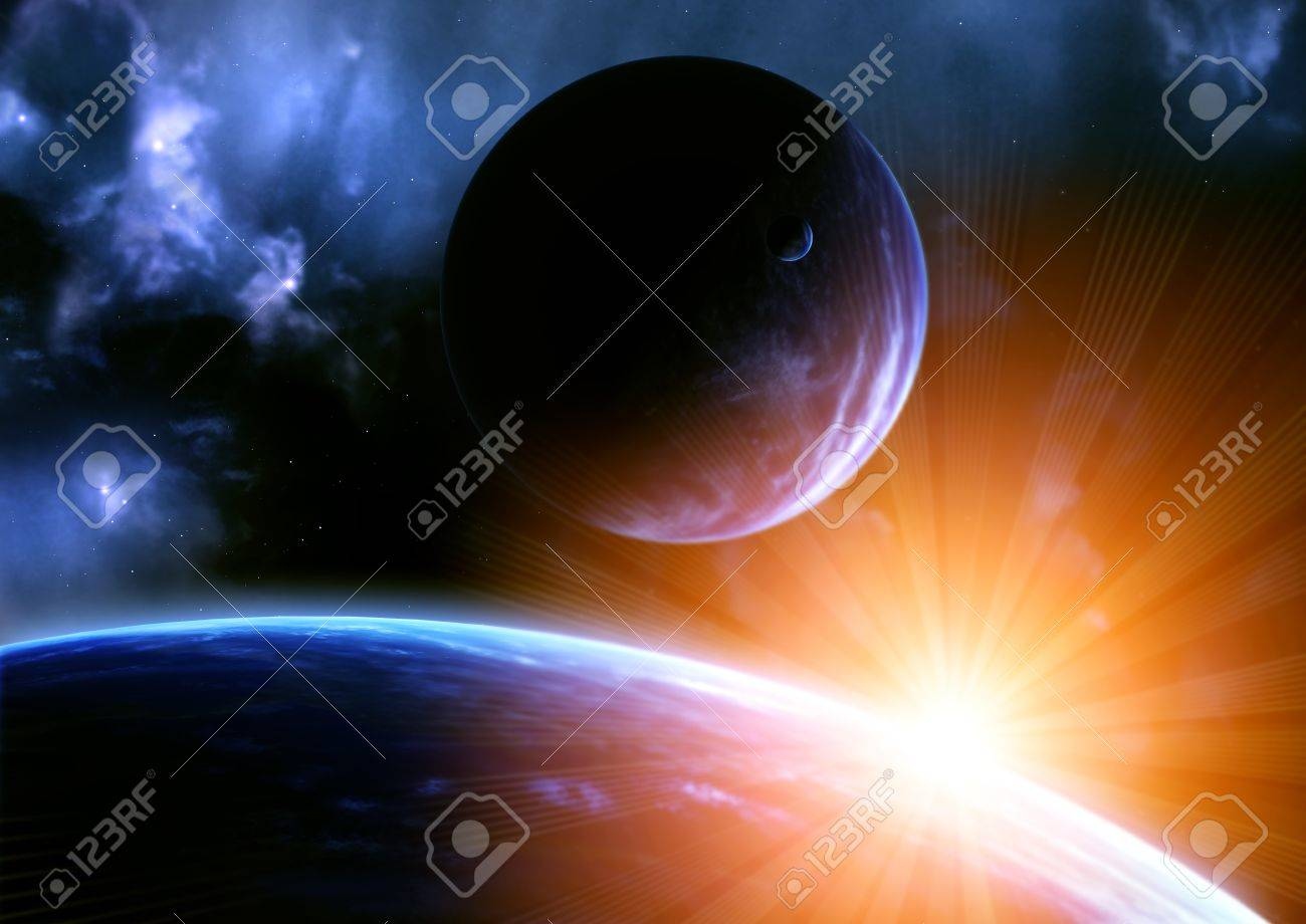 Space flare. A beautiful space scene with planets and nebula Stock Photo - 10064181