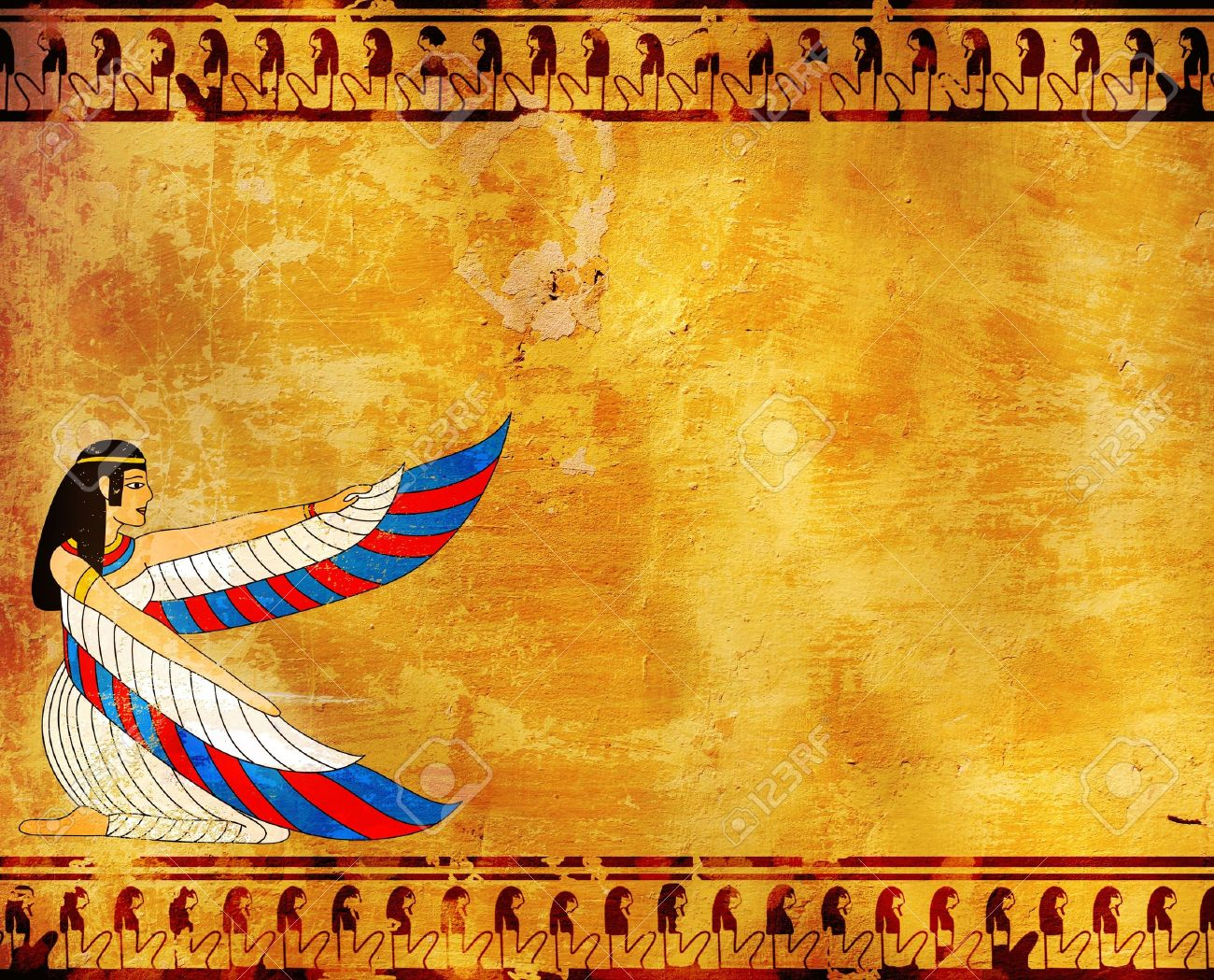 Wall With Egyptian Goddess Image - Isis Stock Photo, Picture And ...
