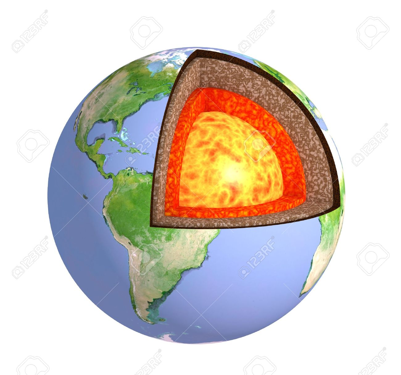 Structure of the Earth. Model isolated over white Stock Photo - 10441105