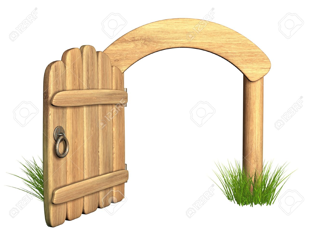 Opened old wooden door. Object isolated over white Stock Photo - 10649737