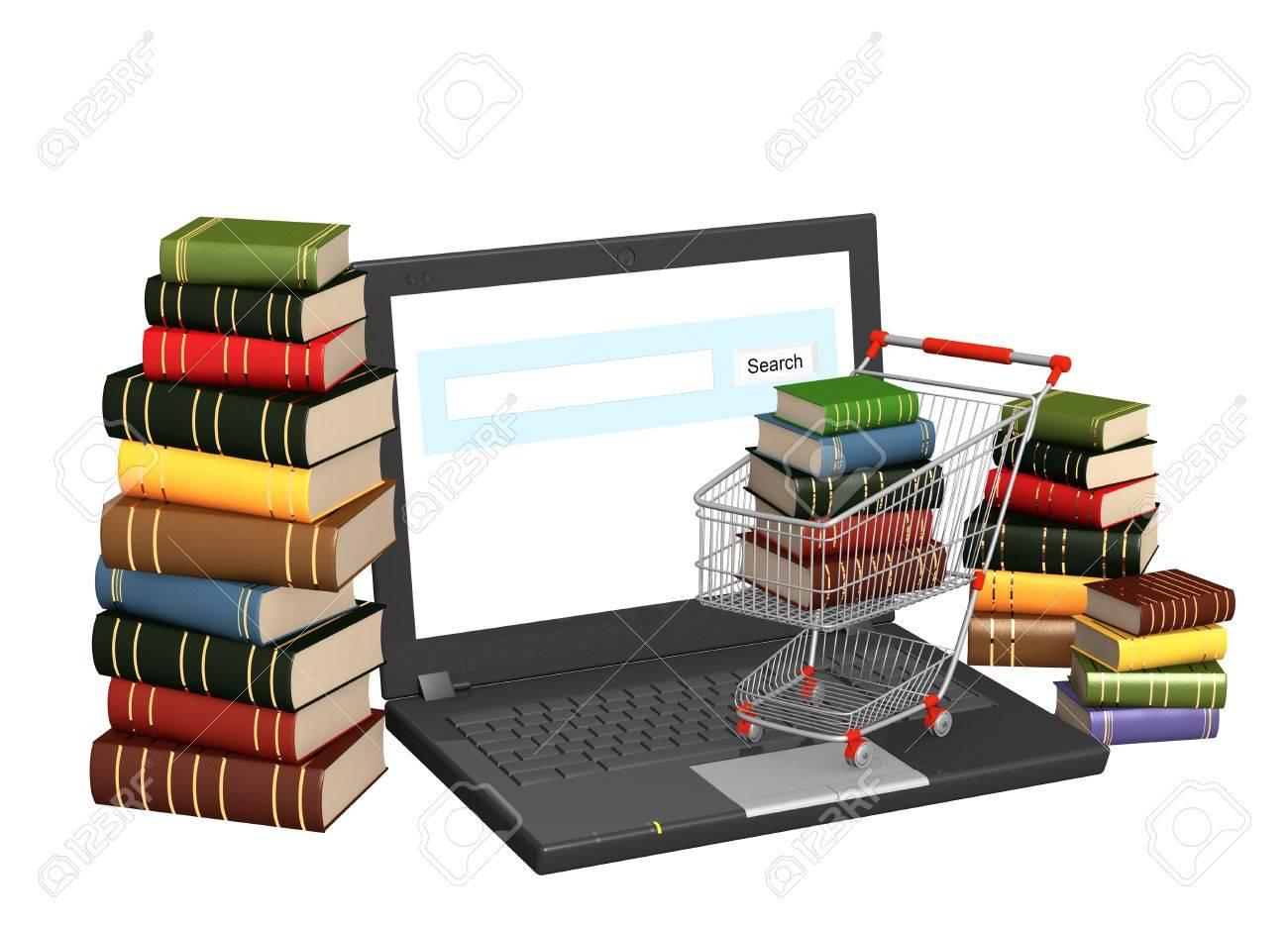 Conceptual image - library online. 3d render Stock Photo - 11275495