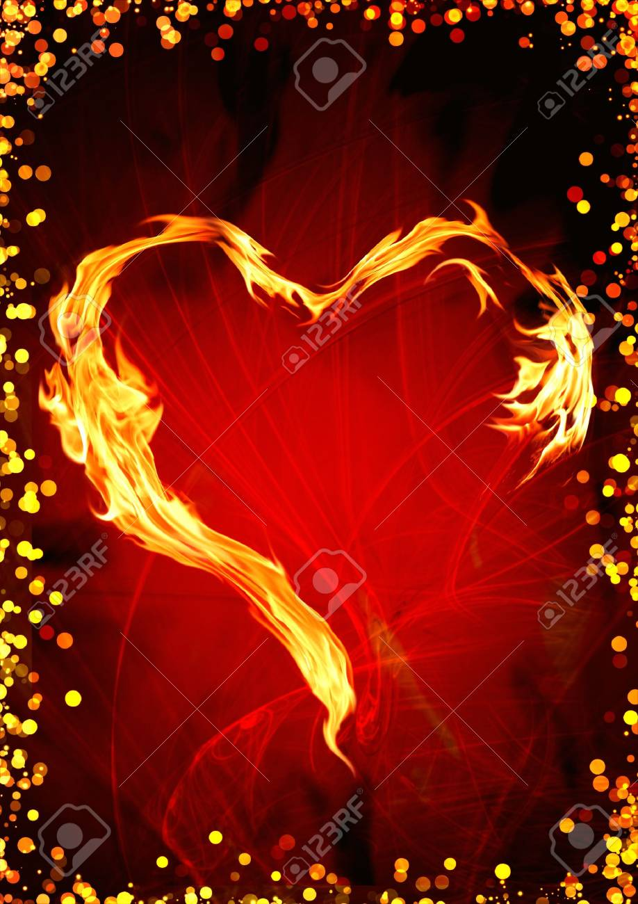 Bright flame in the form of heart Stock Photo - 11967778