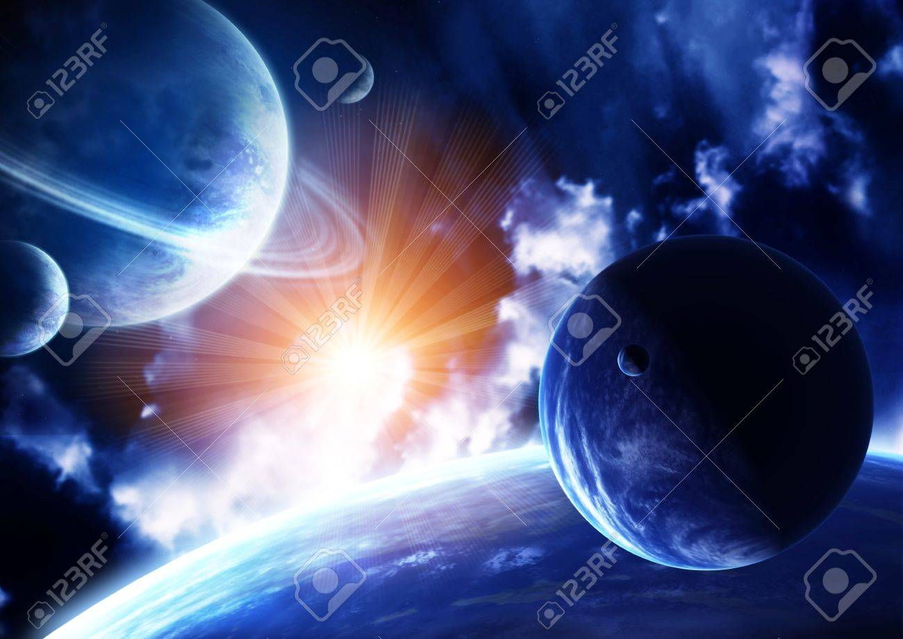 Space flare. A beautiful space scene with planets and nebula Stock Photo - 11967807