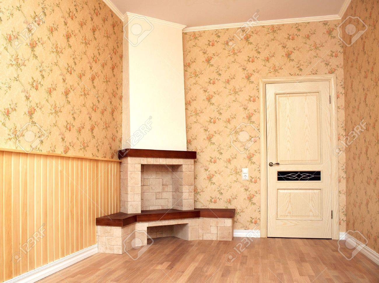 Interior of a room with a fireplace. Retro style Stock Photo - 11967867