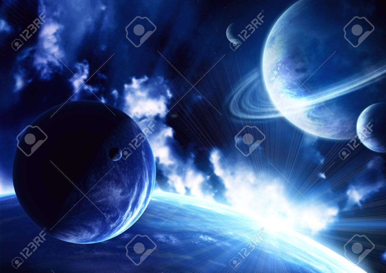 Space flare. A beautiful space scene with planets and nebula Stock Photo - 12335250