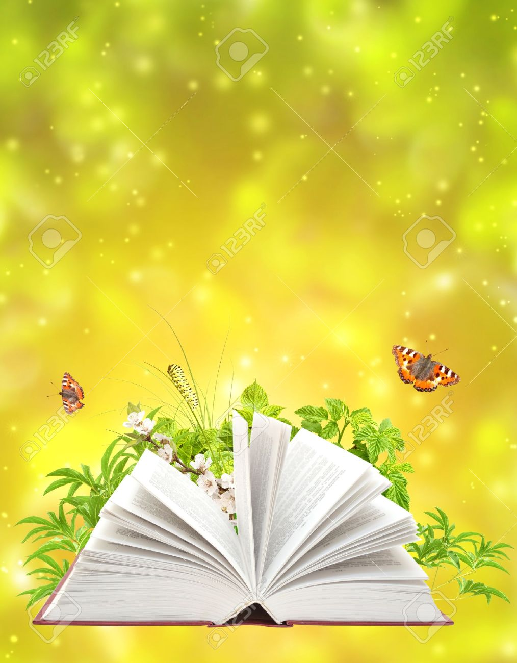 Book Of Nature On Green Backgr...