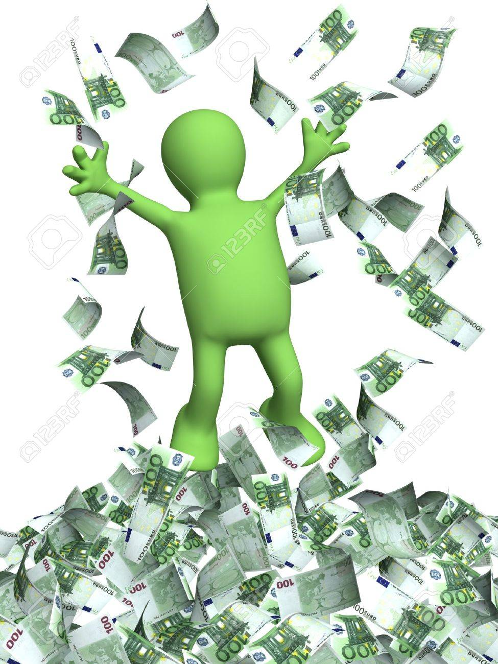 Happy puppet and a money rain. Isolated over white Stock Photo - 16075119