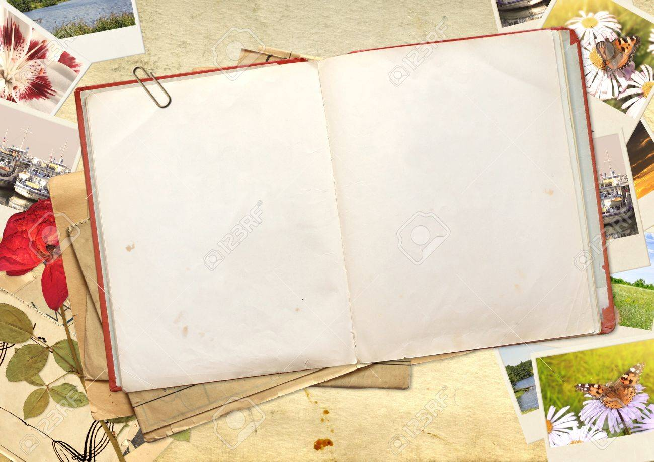 Old book and photos. Objects over old paper Stock Photo - 16240902