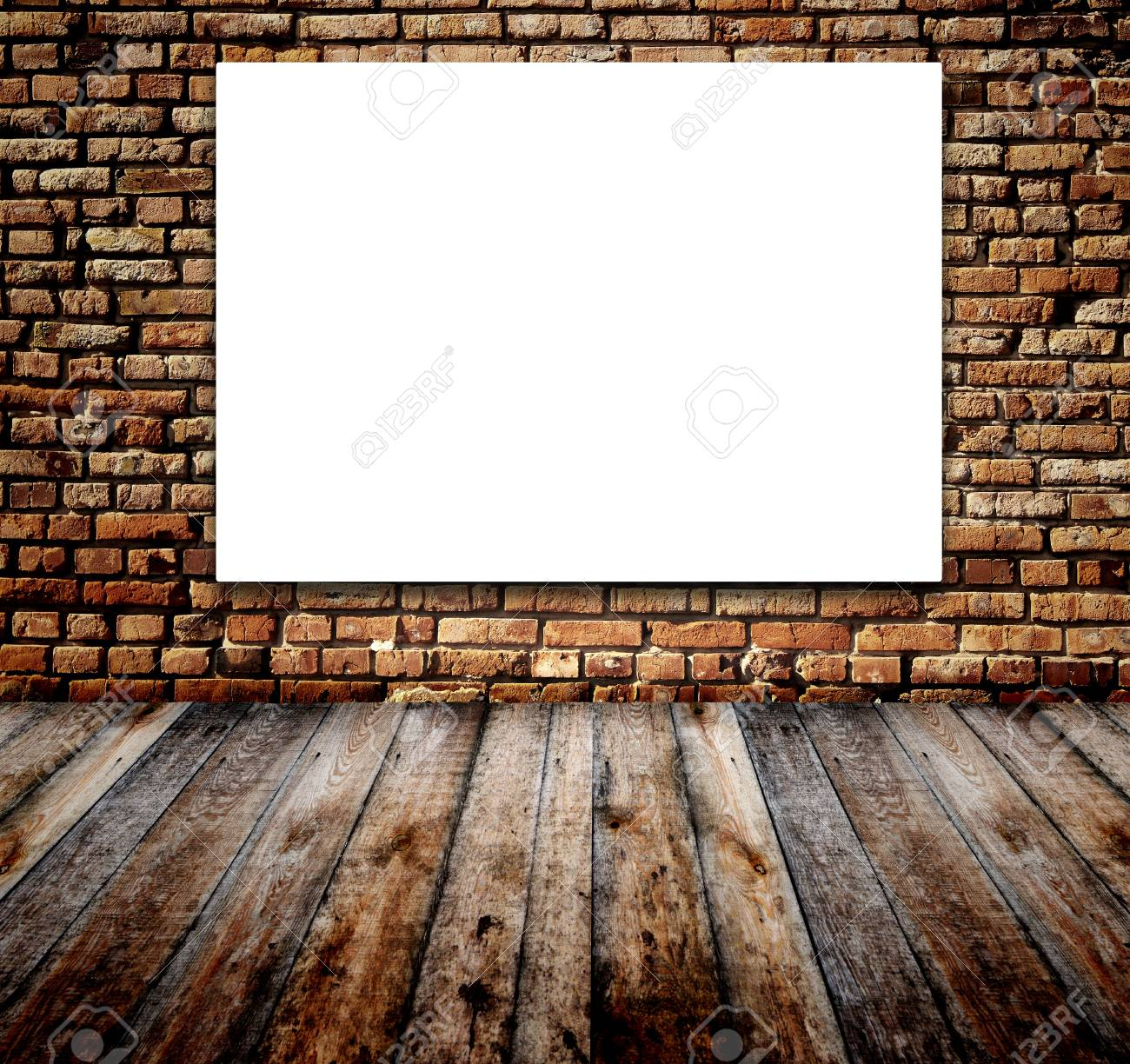 Old room with white screen on brick wall Stock Photo - 16332049