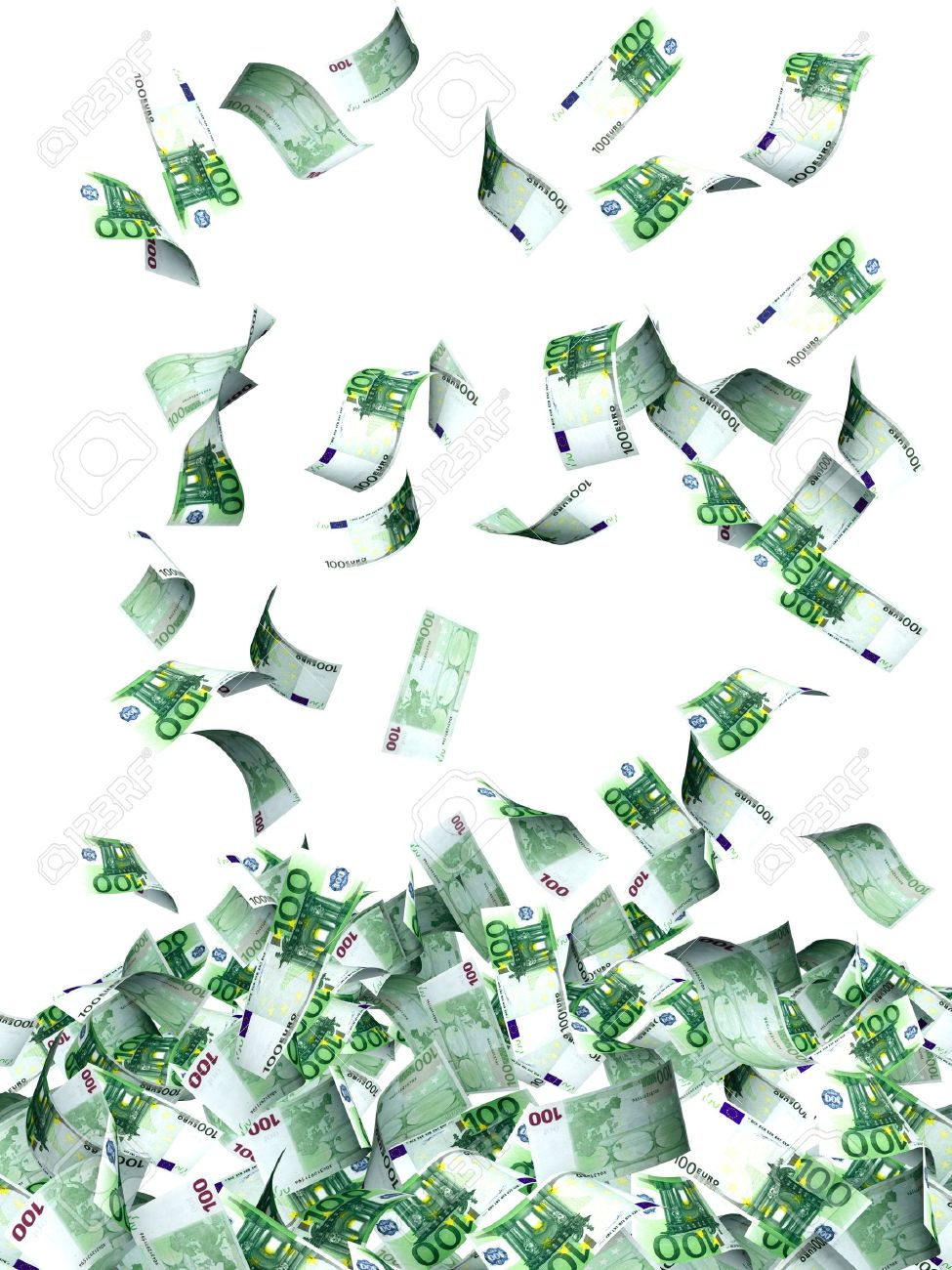 Flying euro banknotes. Isolated over white Stock Photo - 16550235