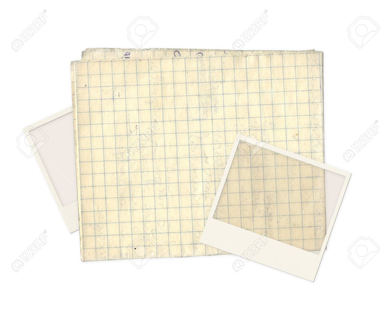 Old photos and paper for scrapbooking. Object isolated over white Stock Photo - 16550229