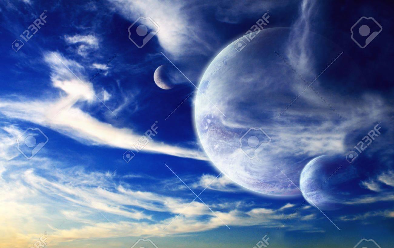 Sunset in alien planet Stock Photo - 18097058