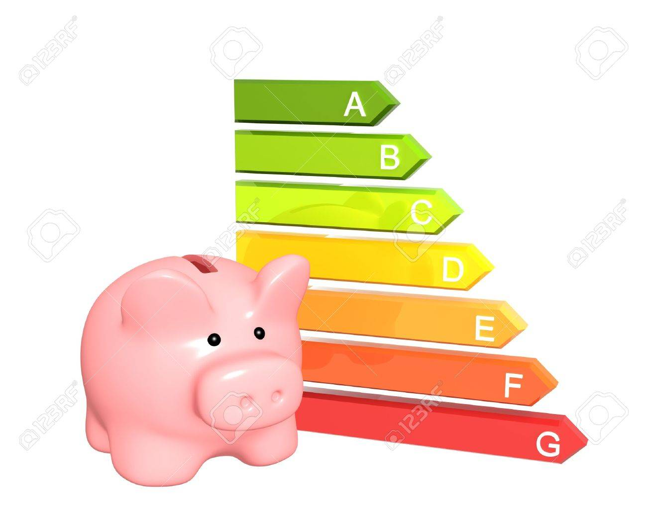 Piggy bank with energy efficiency rating. Isolated over white Stock Photo - 18540771