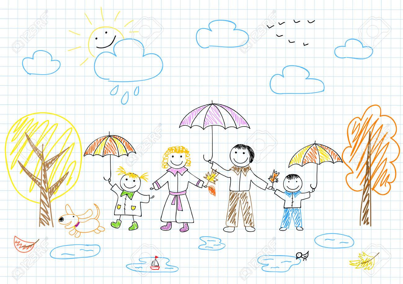 Happy family  Vector sketch on notebook page Stock Vector - 22994562