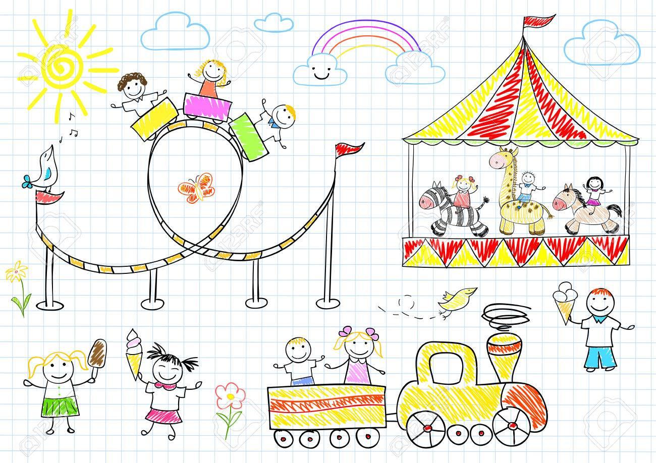 Glückliche Kinder Reiten Auf Dem Karussell. Sketch Auf Notebook ...