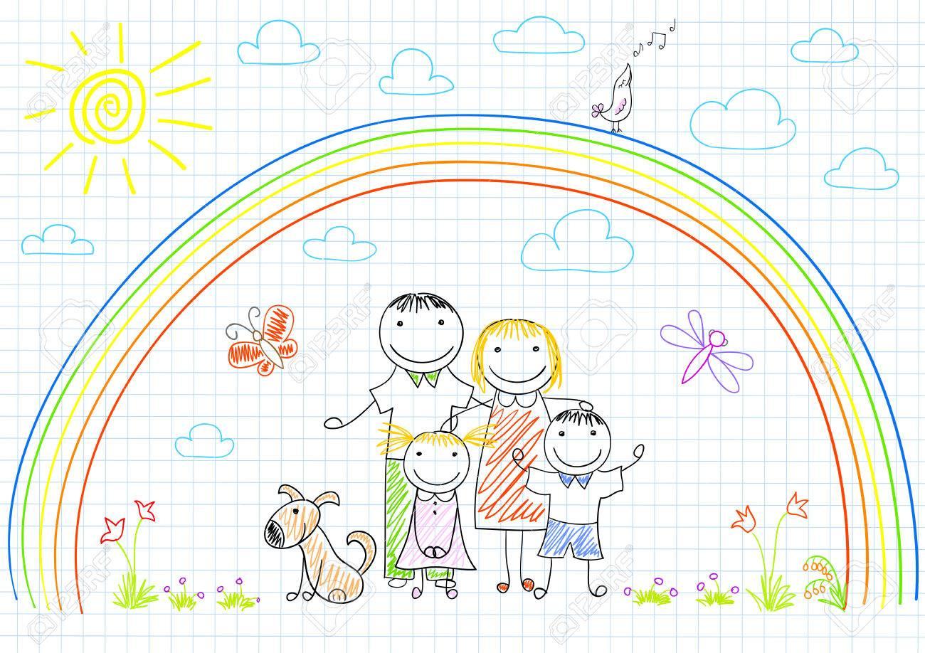 Glückliche Familie - Mutter, Vater Und Zwei Kinder. Sketch Auf ...