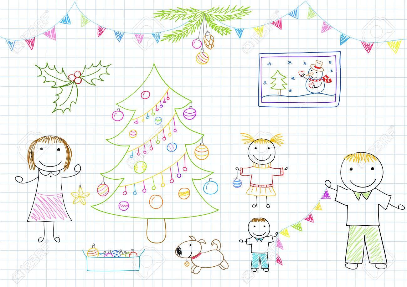Glückliche Familie - Mutter, Vater Und Zwei Kinder Schmückt ...