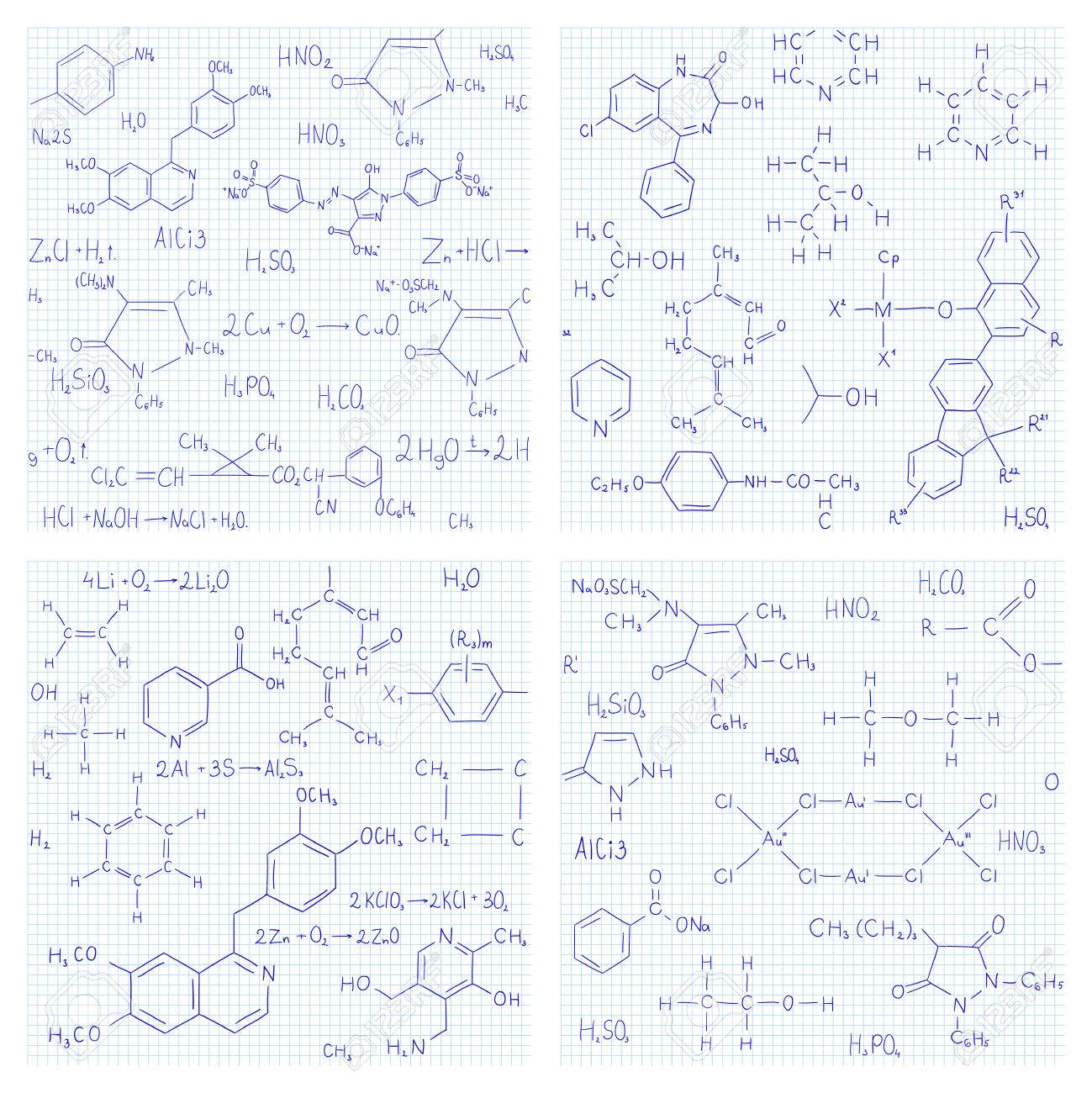 Collection Of Seamless Vector Backgrounds With Chemistry Formulas
