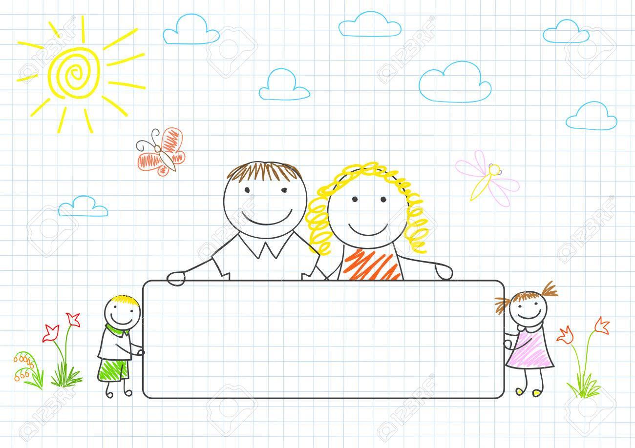 Glückliche Familie - Mutter, Vater Und Zwei Kinder Mit Banner ...