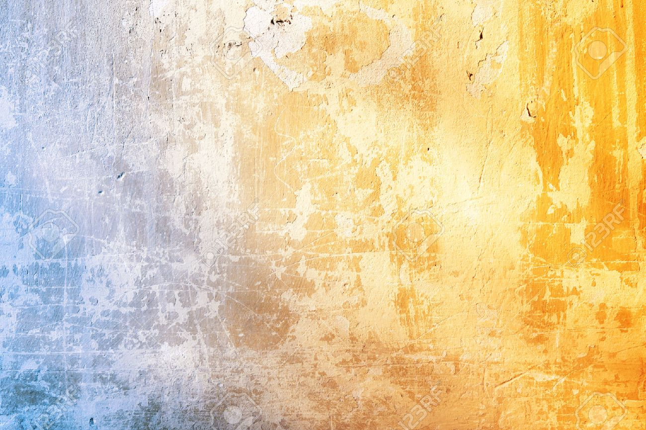 Grunge background with texture of stucco blue and ochre color - 56316963