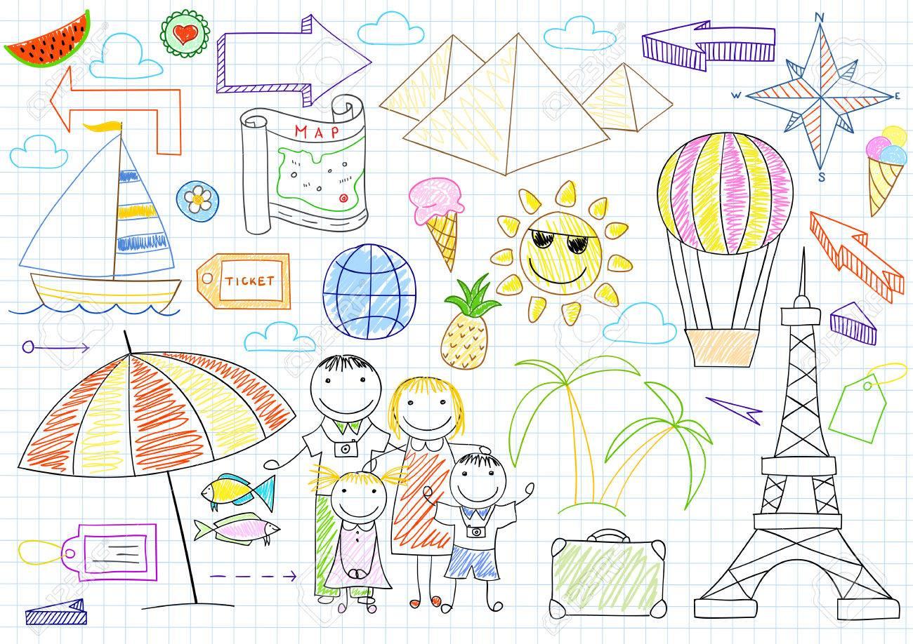 Glückliche Familie Reisende - Mutter, Vater Und Zwei Kinder. Sketch ...