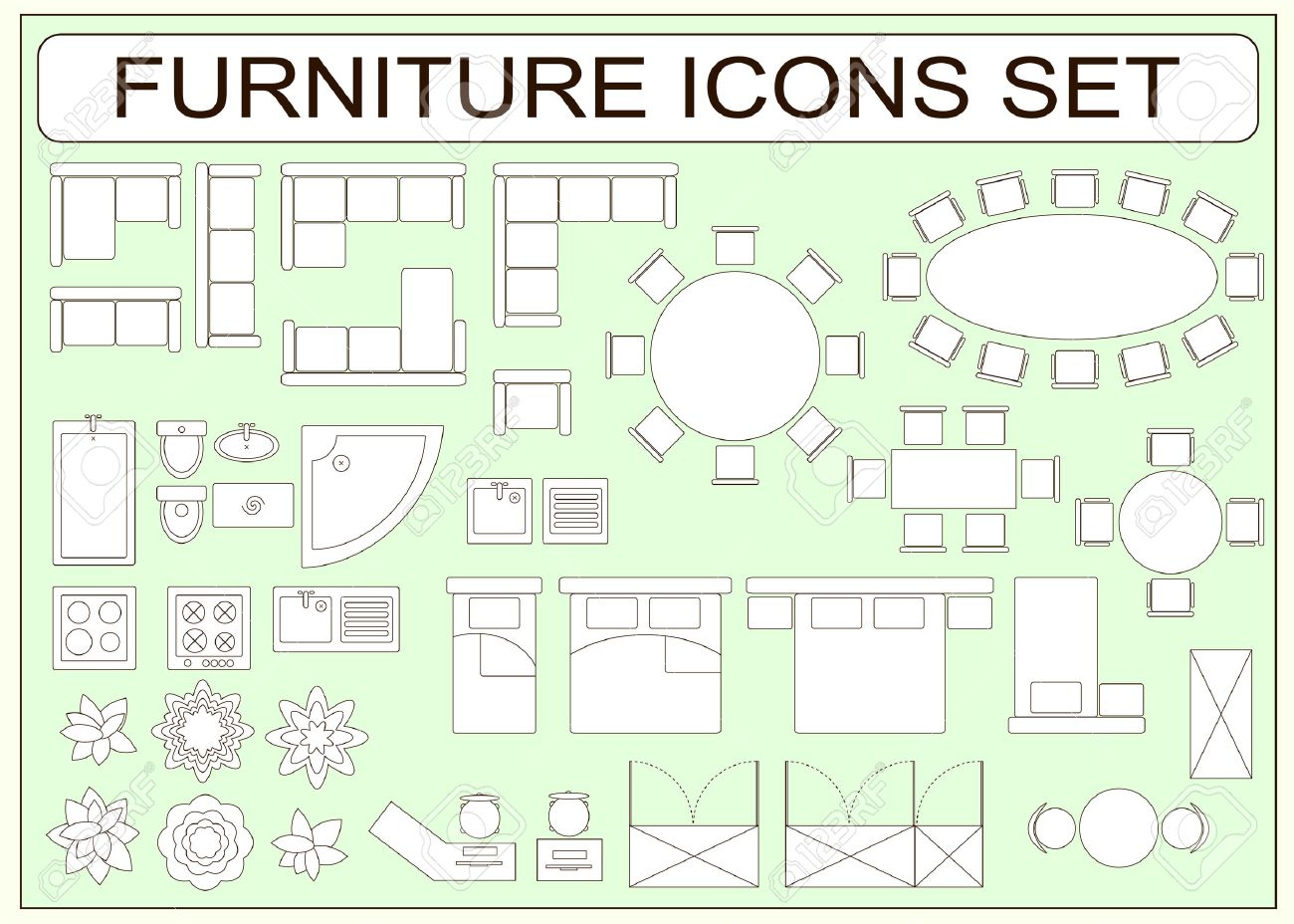 Set of simple furniture vector icons as design elements sofa set of simple furniture vector icons as design elements sofa table computer desk malvernweather Choice Image