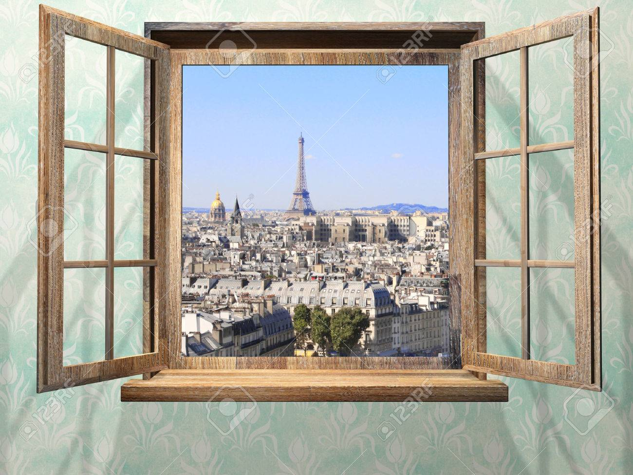 En haut Ouvert Fenêtre Et Vue Sur La Tour Eiffel En Bois, Paris. Banque D &XA_13