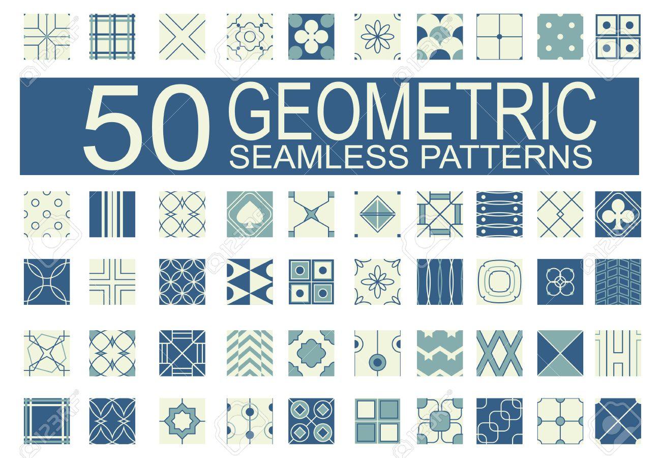 Conjunto De 50 Patrones Diferentes Geométricas Sin Costura (mosaico ...