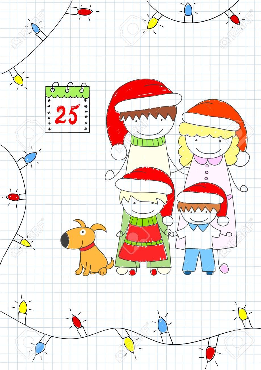 Glückliche Familie - Mutter, Vater Und Zwei Kinder, Hund Und ...