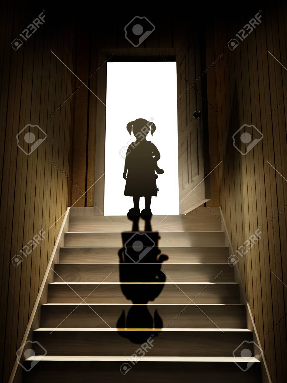 dark basement stairs. Little girl on steps leading from a dark basement to open the door  3d render Girl On Steps Leading From A Dark Basement To Open The