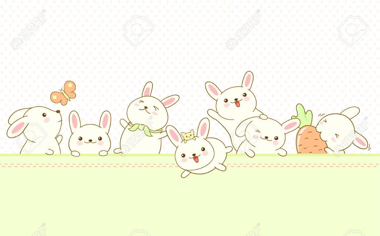 Vector Frontera Con Conejos De Pascua Y El Fondo Con El Patrón De ...