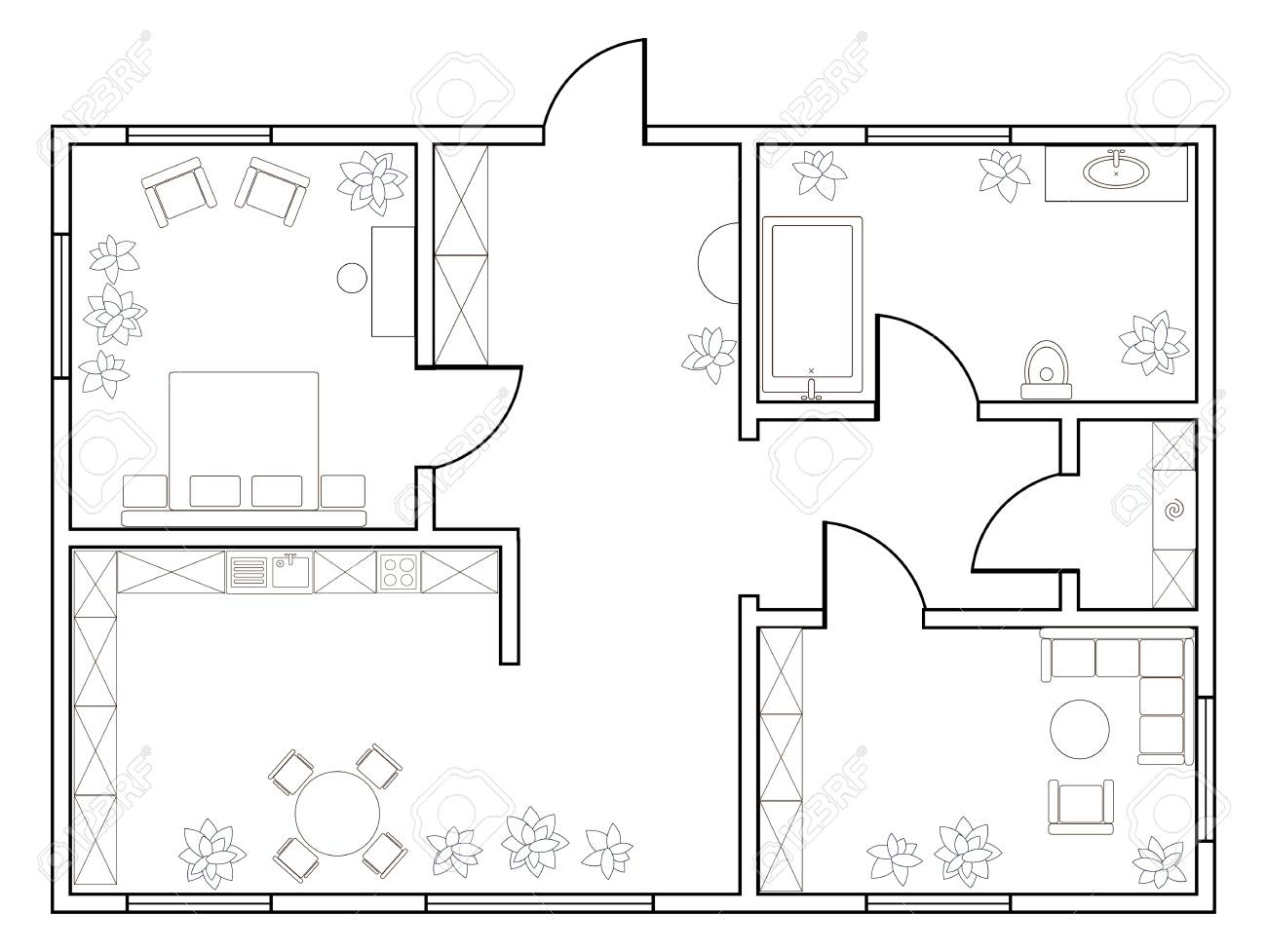 Abstract Vector Plan Of One Bedroom Apartment With Kitchen
