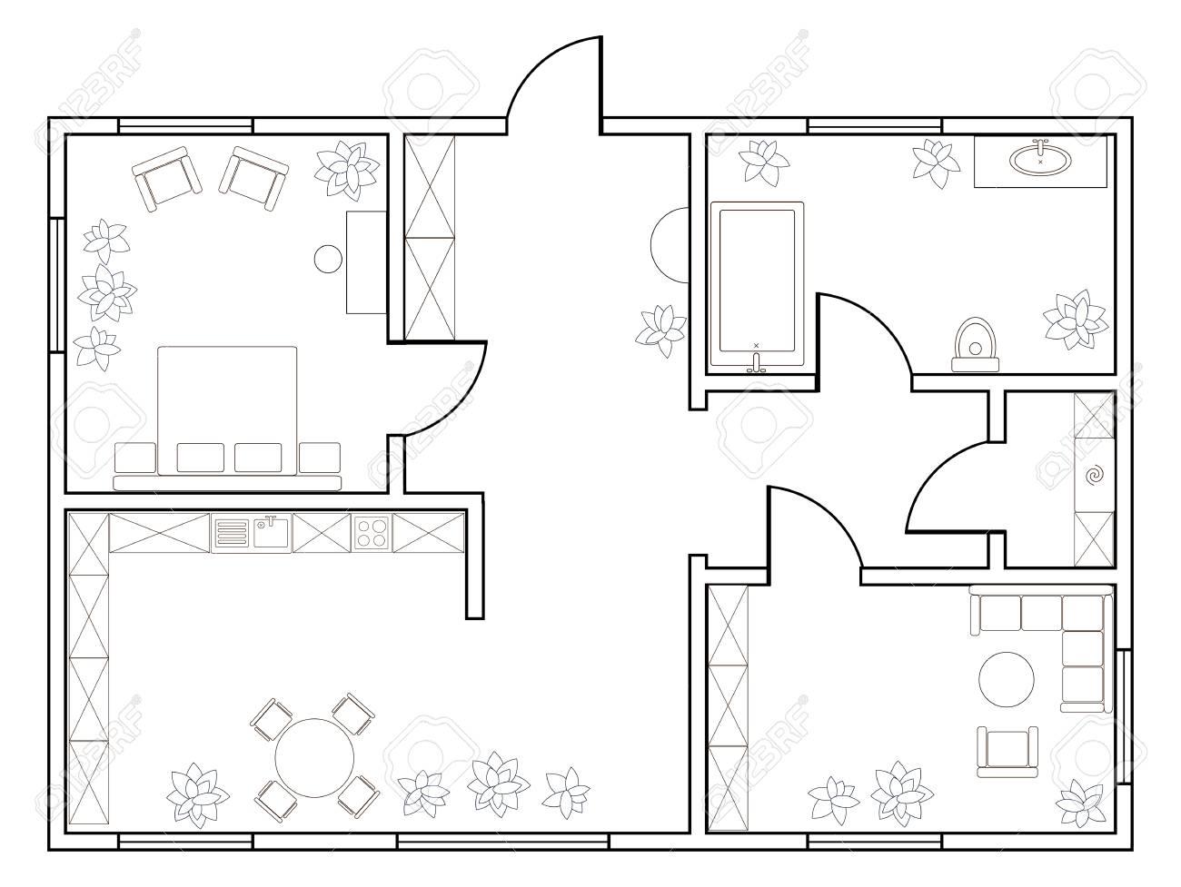 Zusammenfassung Vektor-Plan Der Ein-Zimmer-Wohnung Mit Küche, Bad ...