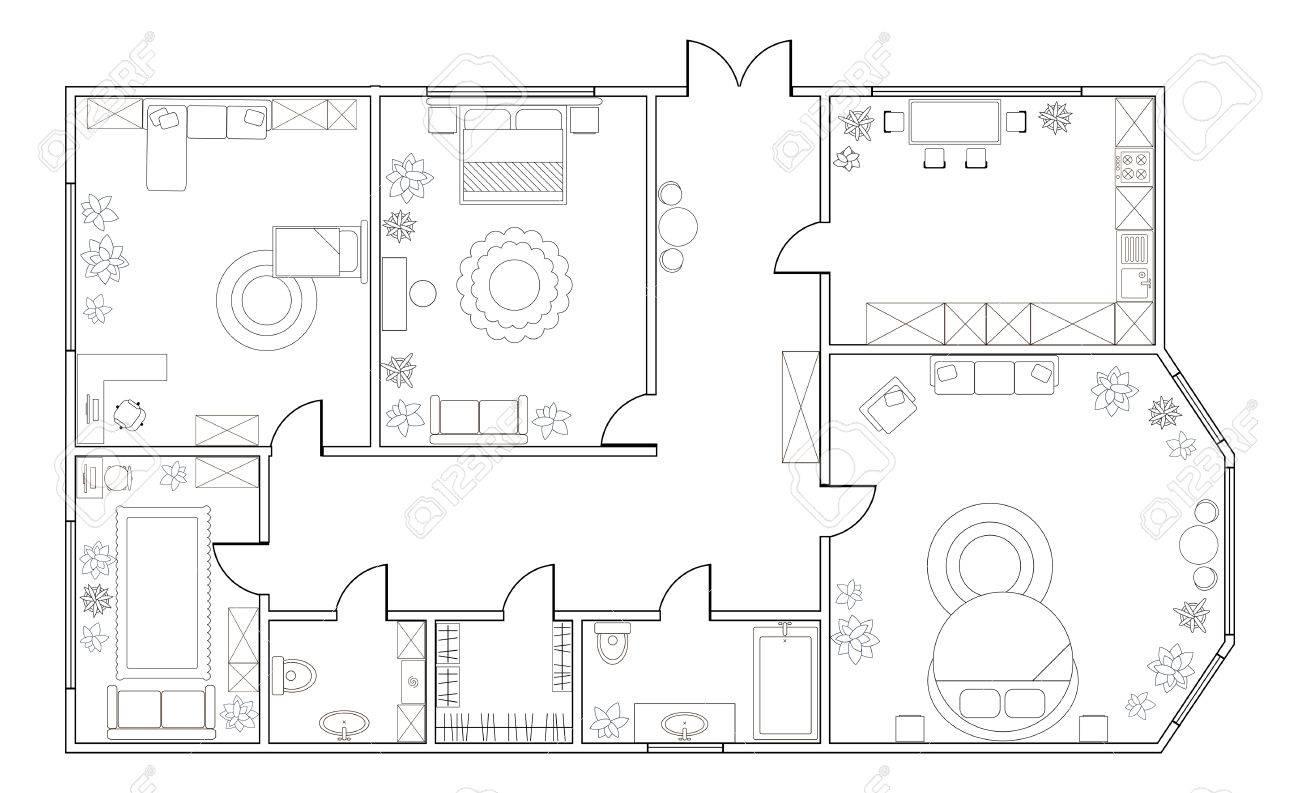 Resumen Vector Plano De Tres Dormitorios, Con Cocina, Cuarto De Baño ...
