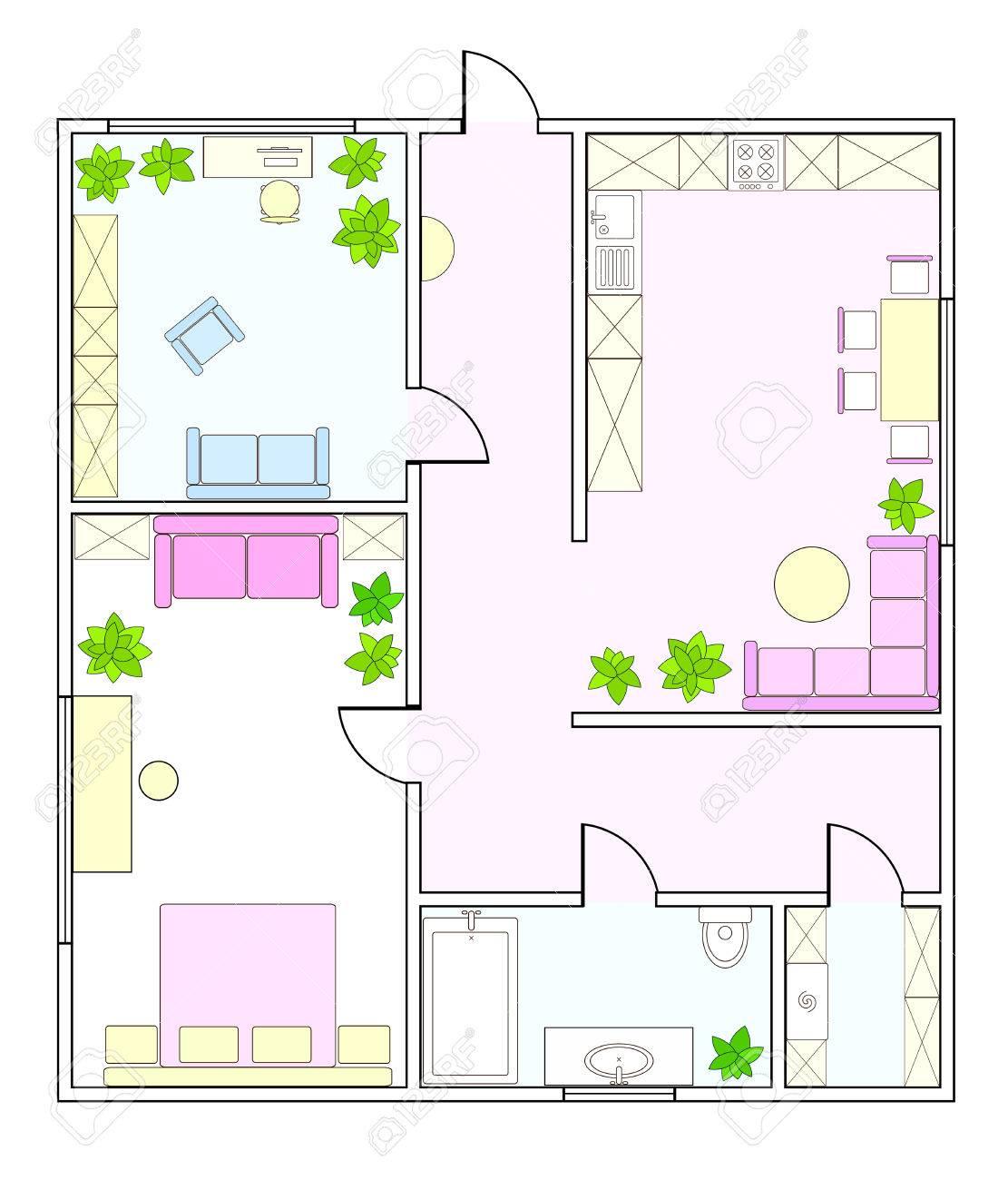 Zusammenfassung Vektor-Plan Von Zwei-Zimmer-Wohnung, Mit Küche, Bad ...