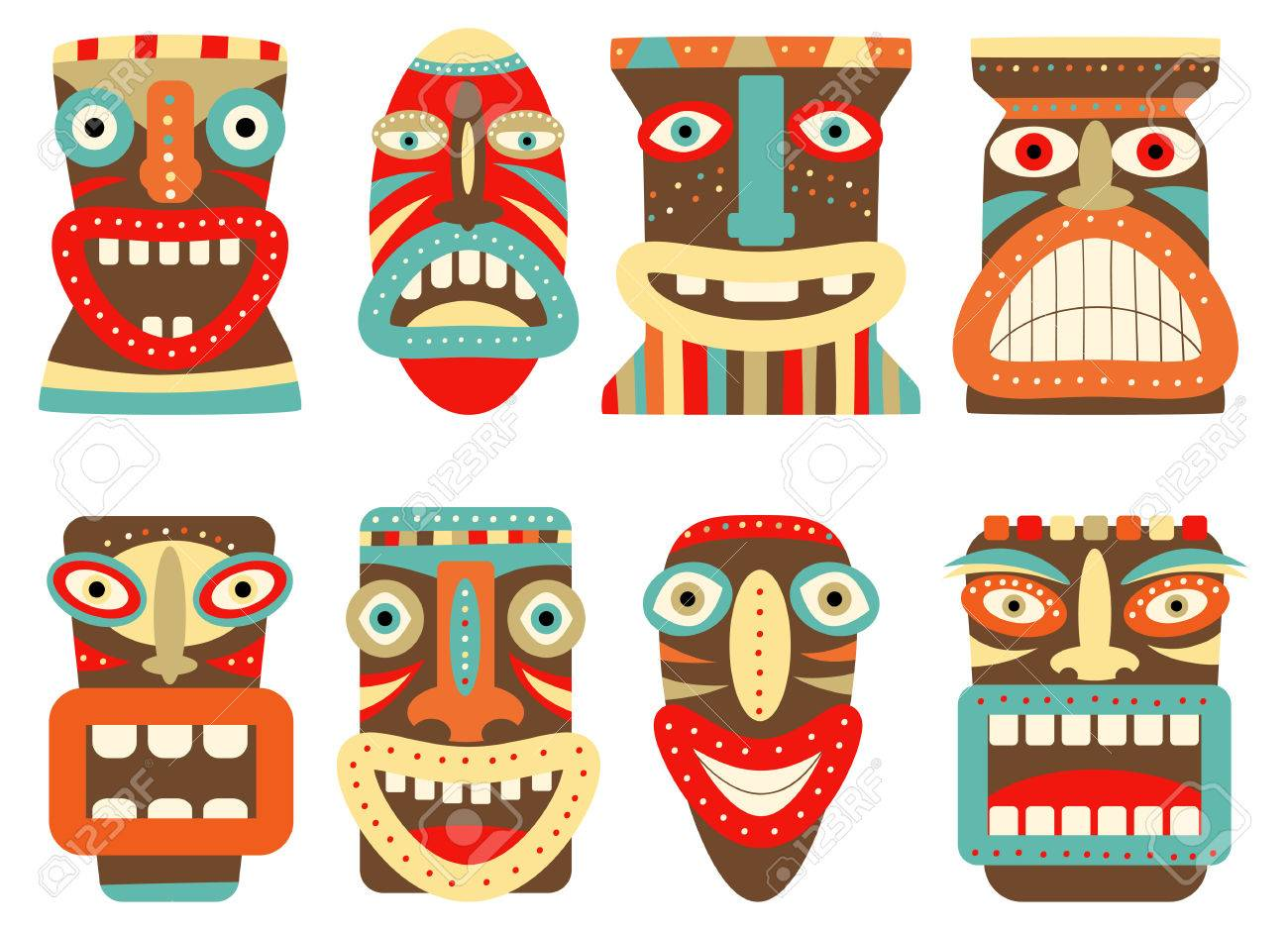 collection of tiki tribal mask set for scrapbooking vector