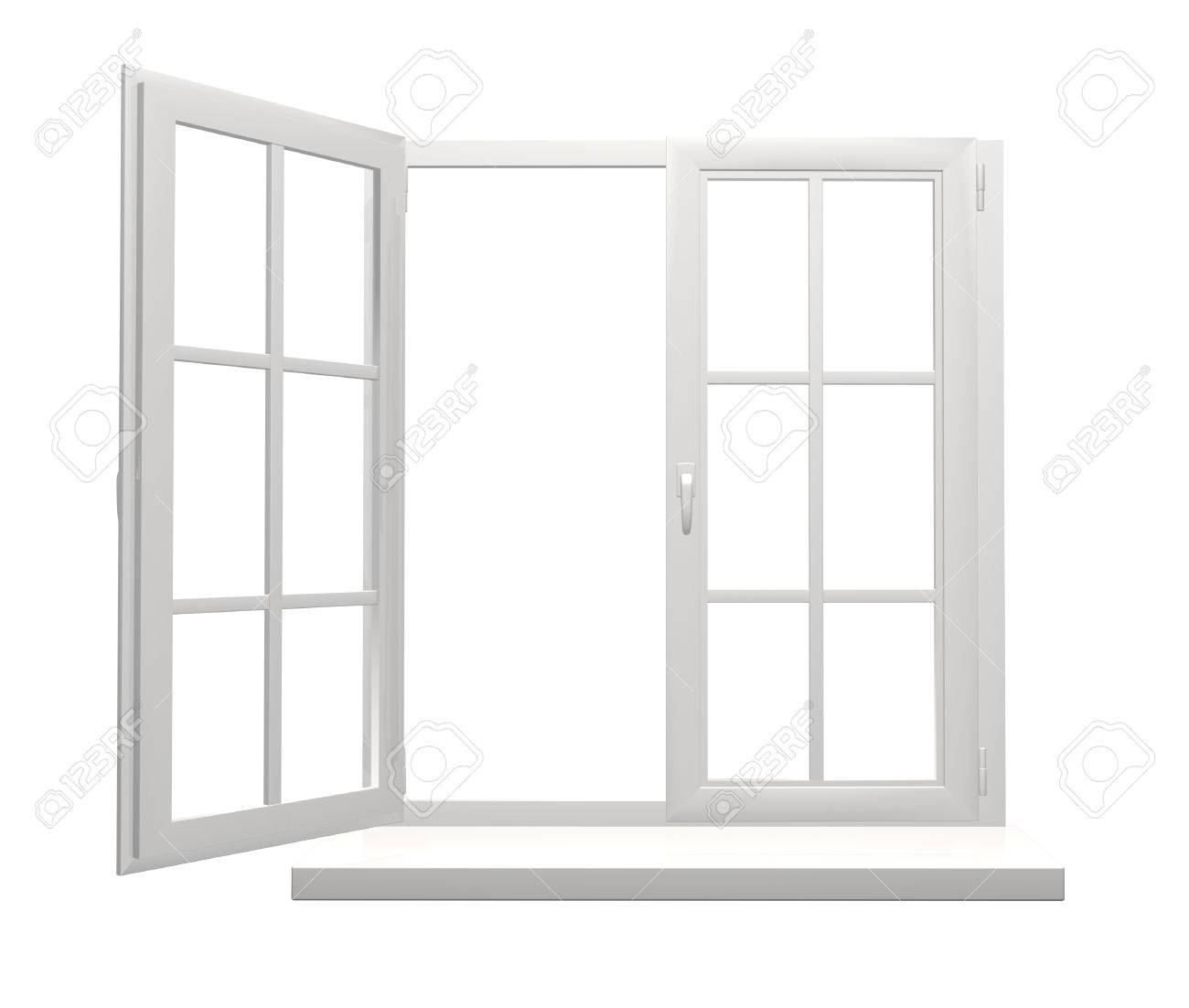 Window Frame With One Open And One Closed Flap. Isolated On White ...
