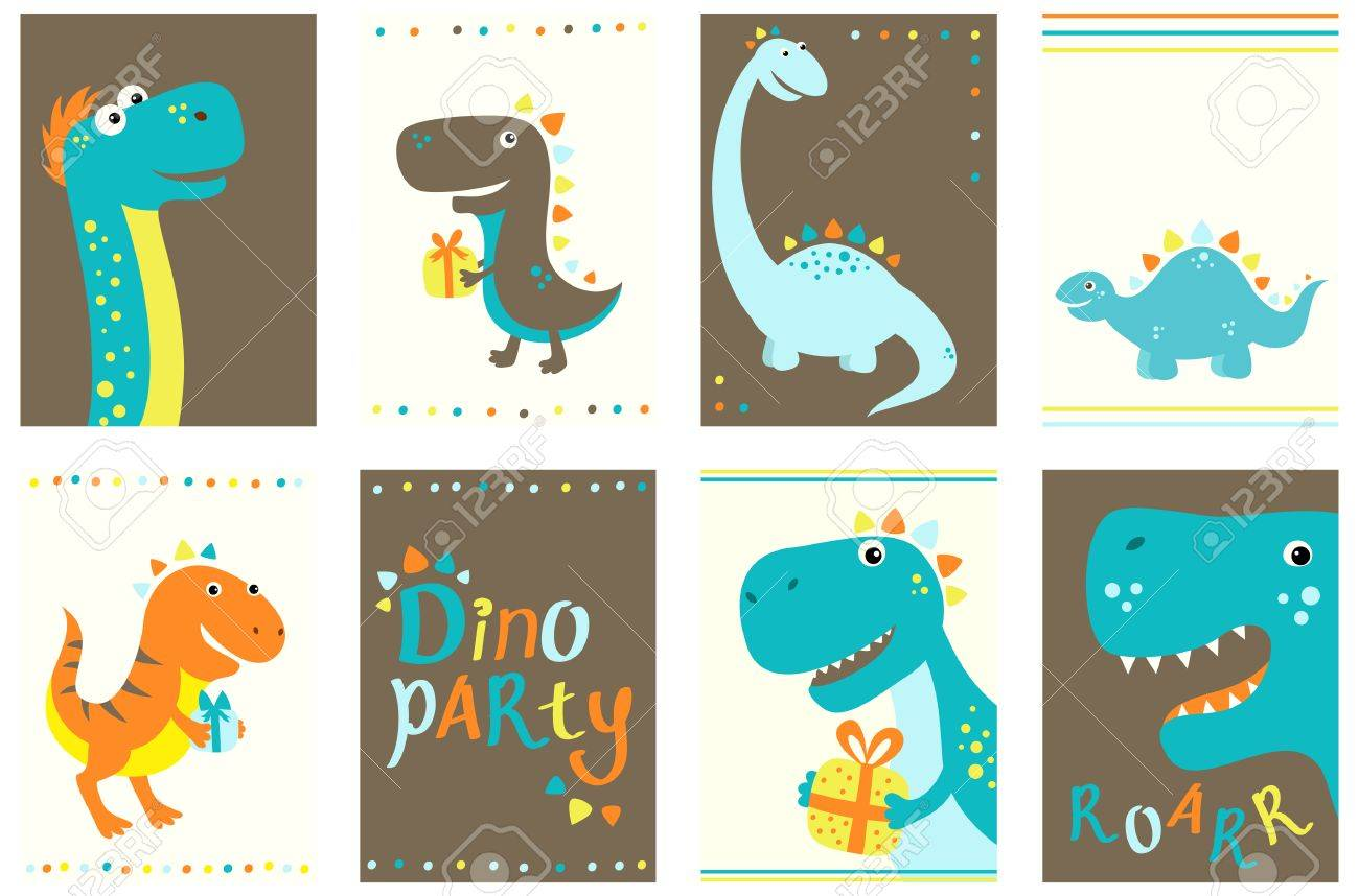 set of birthday banner background flyer placard with cute