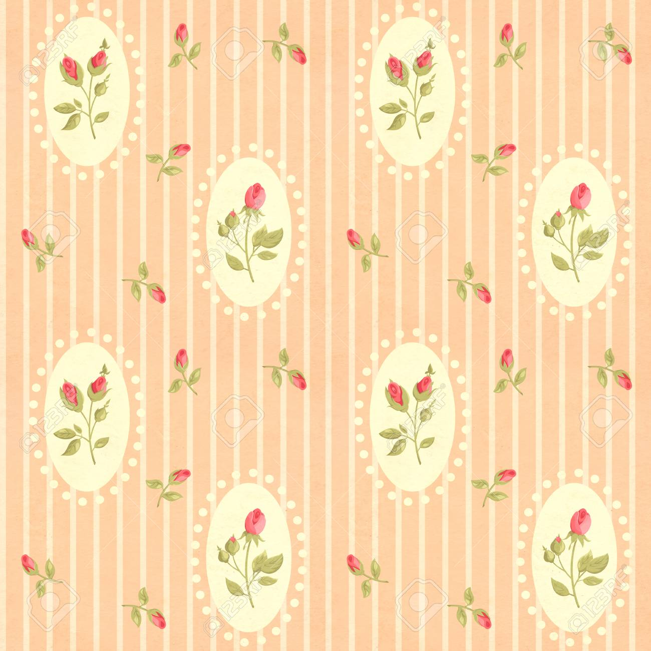 Terrific Seamless Retro Pattern Tiling With Rose Flower In Shabby Chic Beutiful Home Inspiration Xortanetmahrainfo