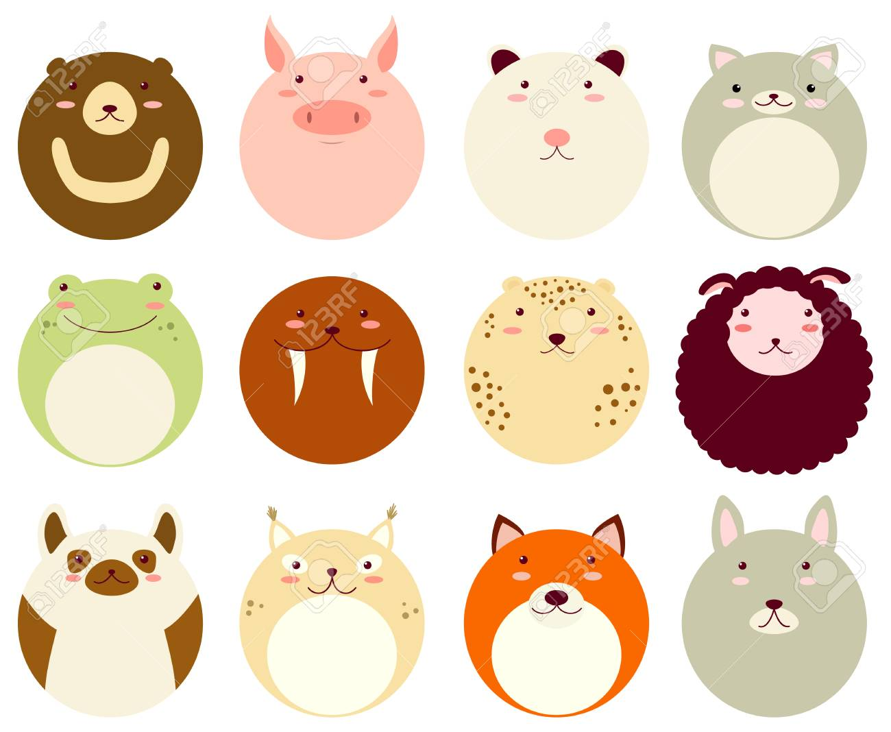 Image of: Photos Collection Of Round Avatars Icons With Faces Of Cute Animals Vector Icons Set In Flat 123rfcom Collection Of Round Avatars Icons With Faces Of Cute Animals