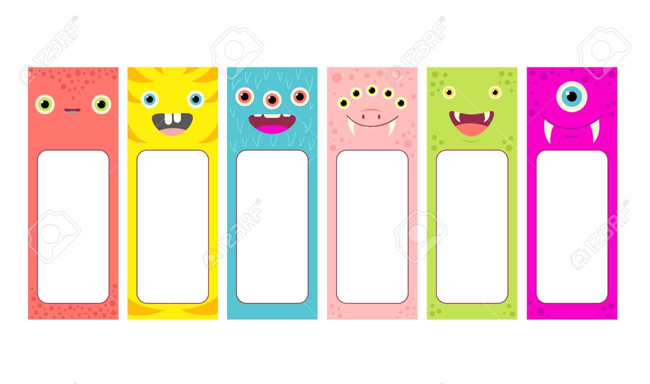 set of memo pads with cute cartoon monsters faces labels for scrapbook vector template card