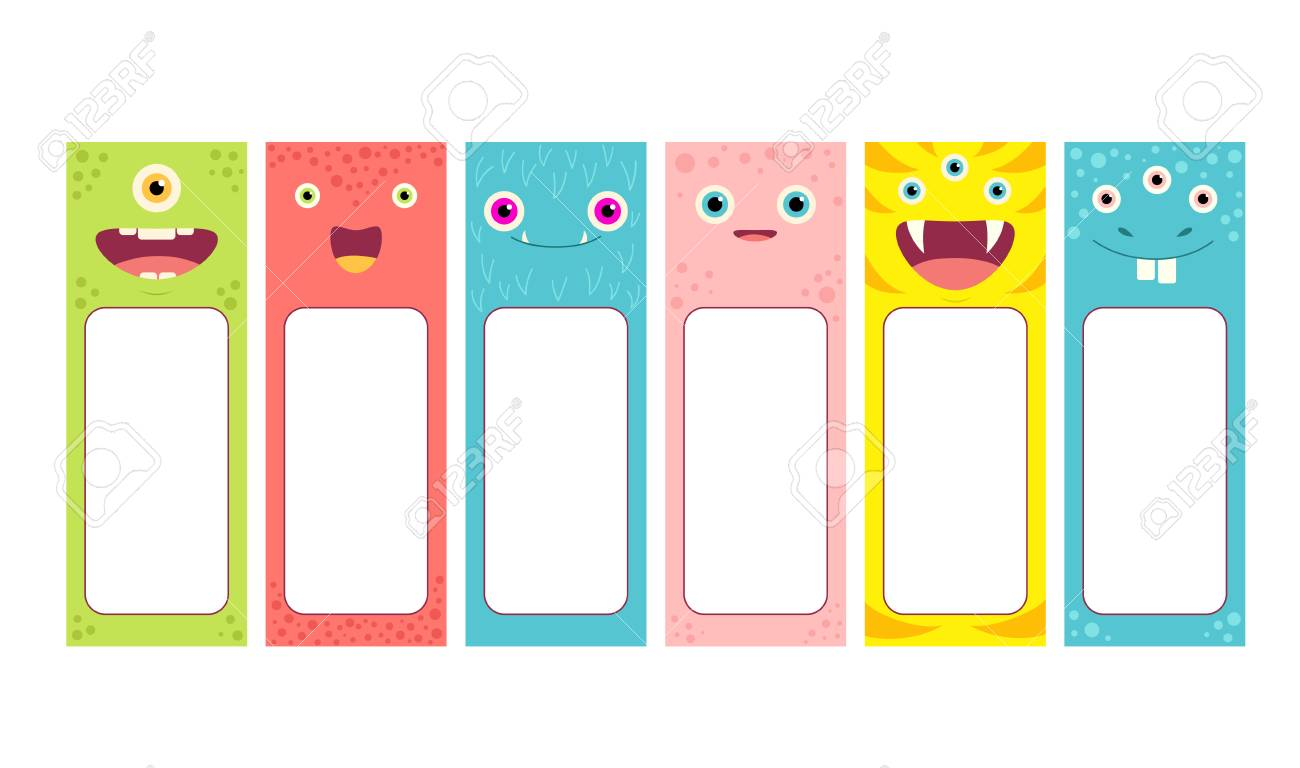 set of memo pads with cute cartoon monsters faces labels for scrapbooking vector template