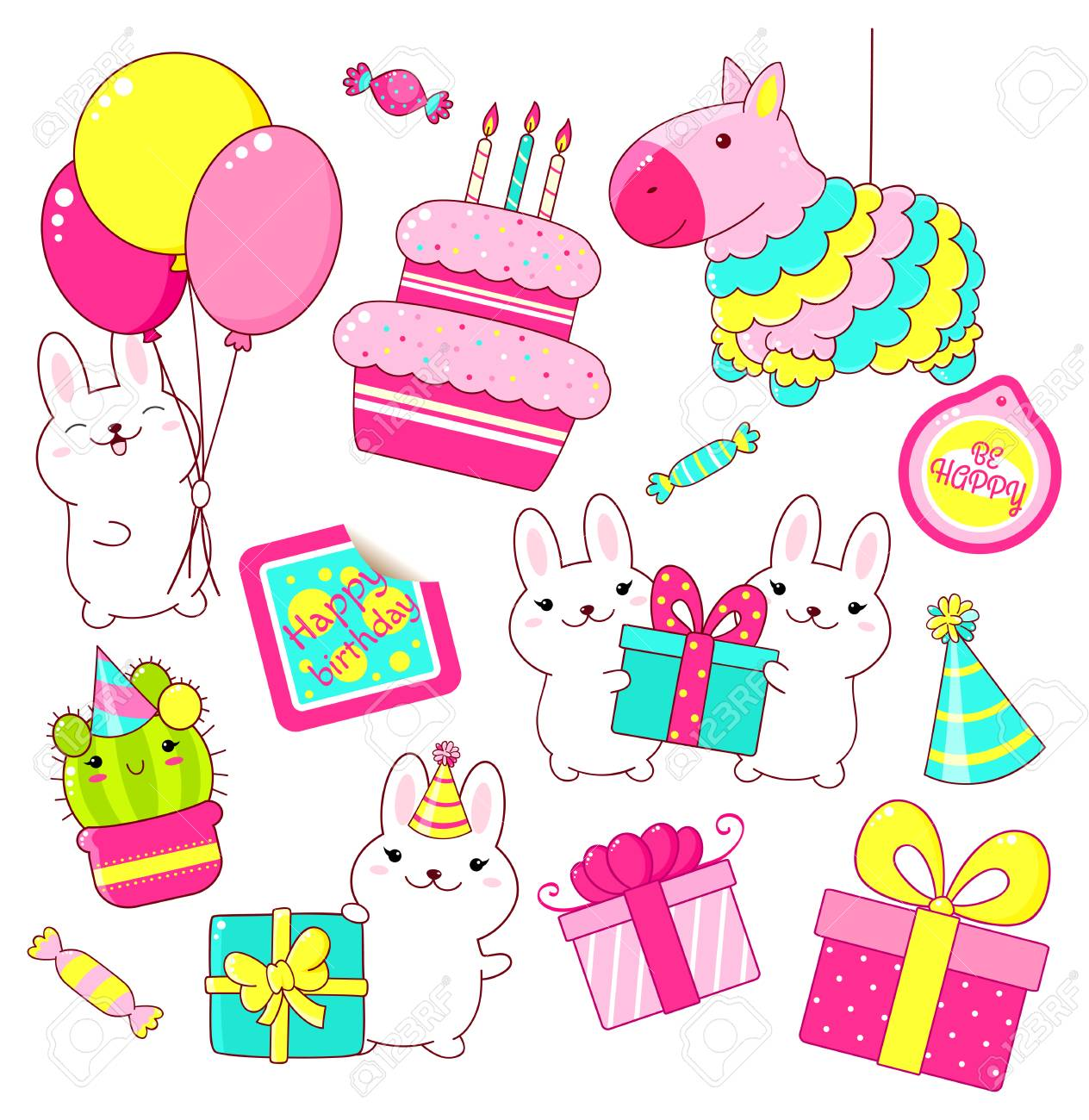 Set Of Cute Birthday Party Icons In Kawaii Style Rabbit With Gift And Balloons Cake Candles Pinata Stack Gifts Candy Sticker